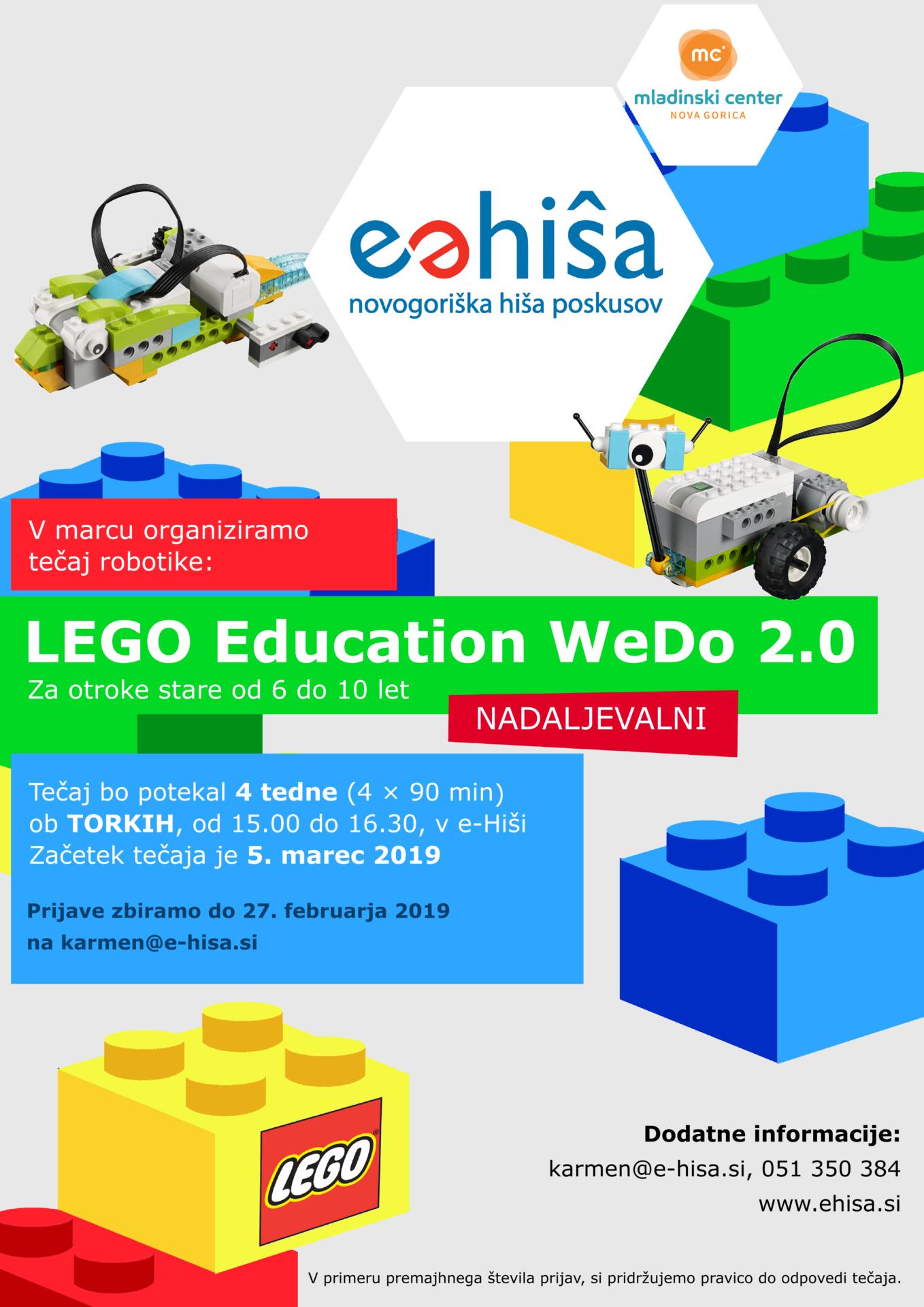 Lego WeDo 2.0 nadaljevalni tečaj v Marcu 2019 v e-Hiši v Novi Gorici